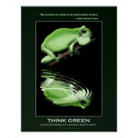 THINK GREEN Earth Day Frog Art Eco Poster