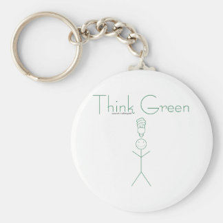 Think green: Eco-friendly stick person t-shirts Keychain