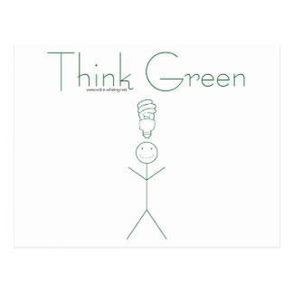 Think green: Eco-friendly stick person t-shirts Postcard