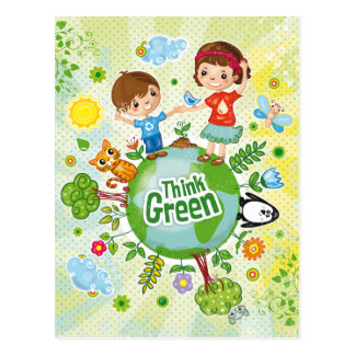 Think Green Eco Kids 2 Postcard