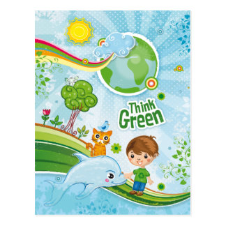 Think Green Eco Kids Postcard