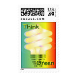 Think Green Energy Bulb Postage Stamp