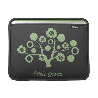 'think green' enviro tree with Japanese patterns MacBook Air Sleeves
