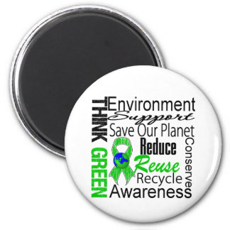 Think Green Environment Collage 2 Inch Round Magnet