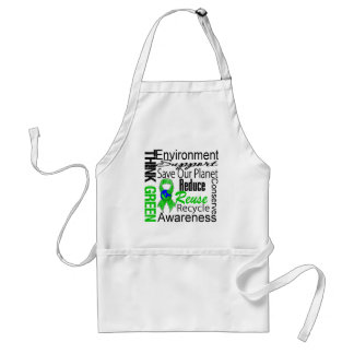 Think Green Environment Collage Adult Apron