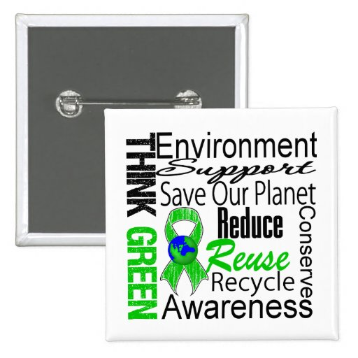 Think Green Environment Collage Button
