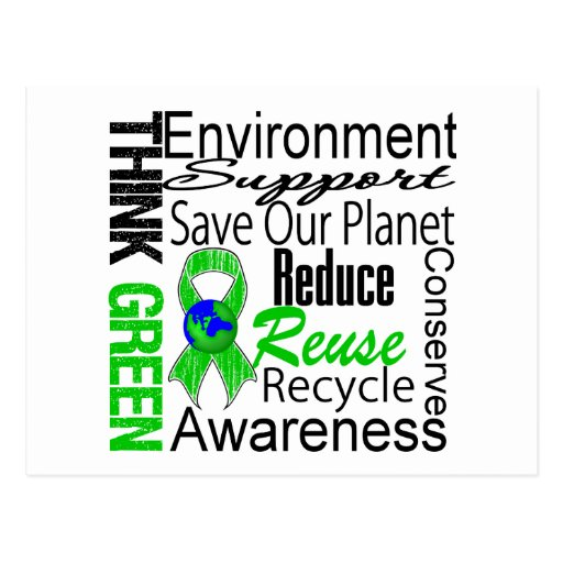Think Green Environment Collage Postcard