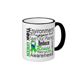 Think Green Environment Collage Ringer Mug