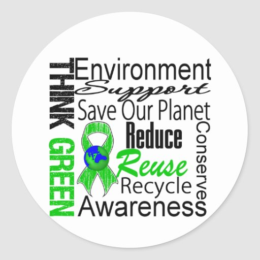 Think Green Environment Collage Stickers