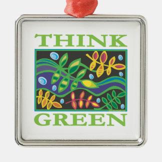 Think Green Environmental Square Metal Christmas Ornament