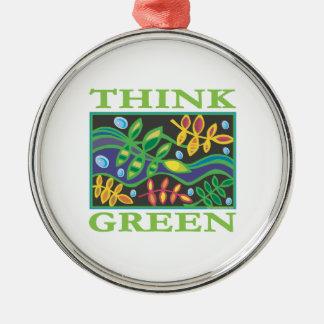 Think Green Environmental Round Metal Christmas Ornament