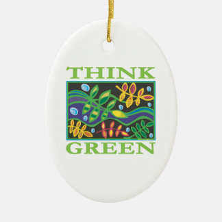 Think Green Environmental Double-Sided Oval Ceramic Christmas Ornament