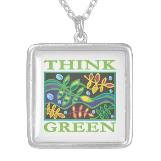Think Green Environmental Square Pendant Necklace