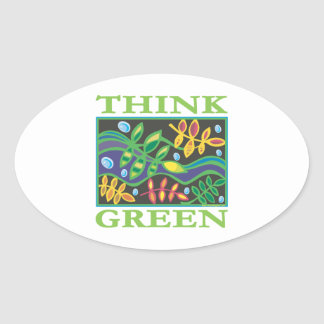 Think Green Environmental Oval Stickers