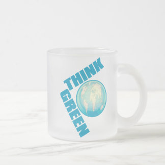 Think_Green Frosted Glass Coffee Mug
