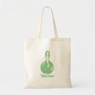 Think Green Girl Tote Bag