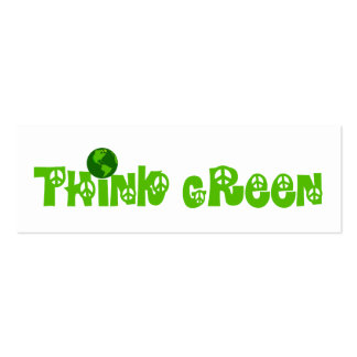 Think Green Globe Bookmark Double-Sided Mini Business Cards (Pack Of 20)