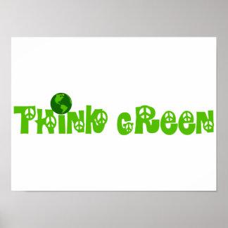 Think Green Globe Poster