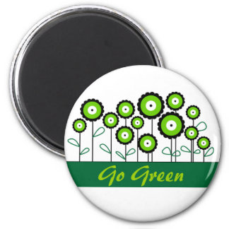 THINK GREEN GO GREEN 2 INCH ROUND MAGNET