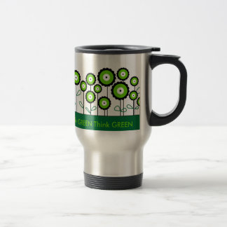 THINK GREEN GO GREEN 15 OZ STAINLESS STEEL TRAVEL MUG