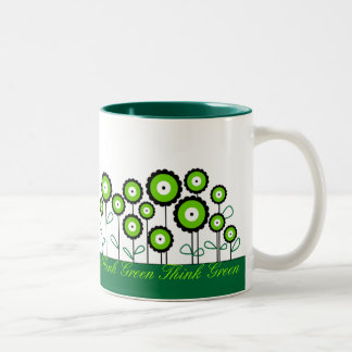 THINK GREEN GO GREEN Two-Tone COFFEE MUG