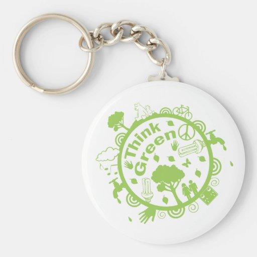 Think Green Key Ring Basic Round Button Keychain