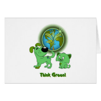 Think Green! (Leaf and Blade) Greeting Card