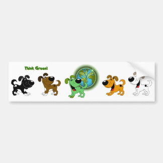 Think Green (Leaf and Four Pups) Bumper Sticker