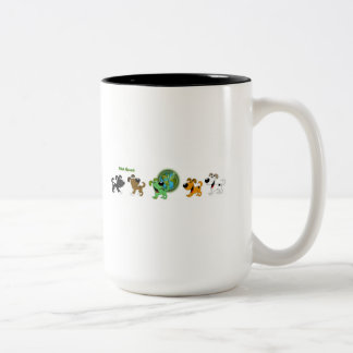 Think Green (Leaf and Four Pups) Two-Tone Coffee Mug