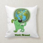 Think Green (Leaf) Throw Pillow