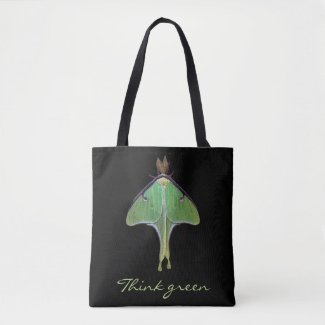 Think Green Luna Moth Earth Day Animal Tote Bag
