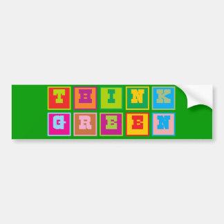 Think Green multi-colored blocks Car Bumper Sticker