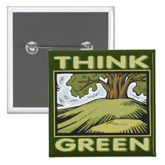 Think Green Oak Tree Button