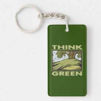 Think Green Oak Tree Single-Sided Rectangular Acrylic Keychain