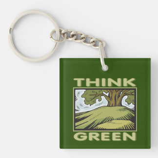 Think Green Oak Tree Single-Sided Square Acrylic Keychain