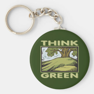Think Green Oak Tree Keychain