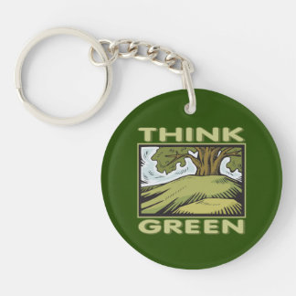 Think Green Oak Tree Single-Sided Round Acrylic Keychain