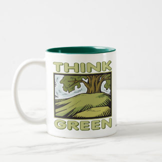 Think Green Oak Tree Two-Tone Coffee Mug