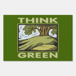 Think Green Oak Tree Signs