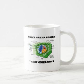 Think Green Power Think Vegetarian (Plant Cell) Classic White Coffee Mug