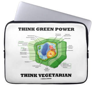 Think Green Power Think Vegetarian (Plant Cell) Computer Sleeve