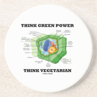 Think Green Power Think Vegetarian (Plant Cell) Sandstone Coaster