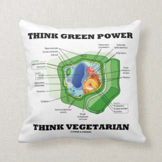 Think Green Power Think Vegetarian Plant Cell Throw Pillow