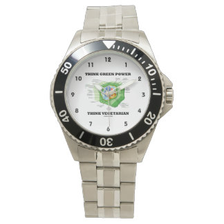 Think Green Power Think Vegetarian (Plant Cell) Wrist Watch
