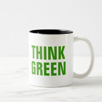 THINK GREEN Quotes Two-Tone Coffee Mug