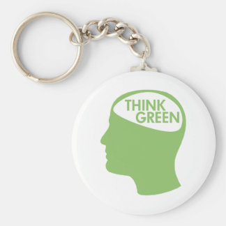 Think Green Recycle Basic Round Button Keychain