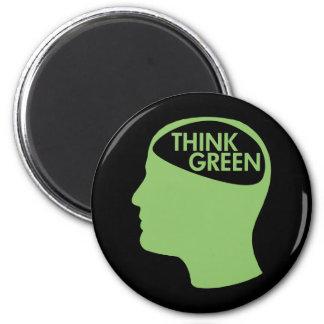 Think Green Recycle dark 2 Inch Round Magnet