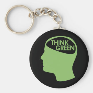Think Green Recycle dark Basic Round Button Keychain
