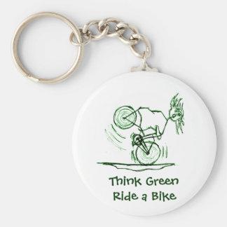 Think Green Ride a Bike Basic Round Button Keychain