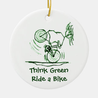 Think Green Ride a Bike Ceramic Ornament